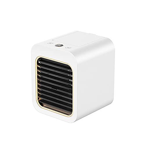 Mini Ventilador De Aire Acondicionado, Enfriador De Aire De Escritorio con Carga USB, Ventilador De Enfriamiento por Pulverización Silencioso con Pantalla Y Luz Ambiental Azul,Blanco,5.1x5.7x6.3in