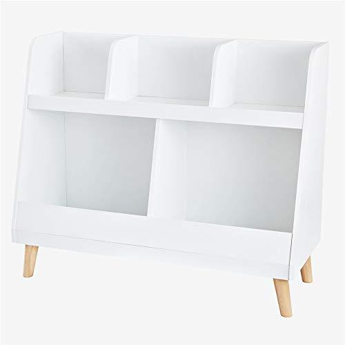 Zhongsufei-HM Hauptlagerschrank Hölzerner Vitrinenschrank-Bücherschrank-Speicher 3 legt weißes Anzeigen-Spielzeug-Organisator-Regal mit den hölzernen Beinen beiseite Für Kinderzimmer