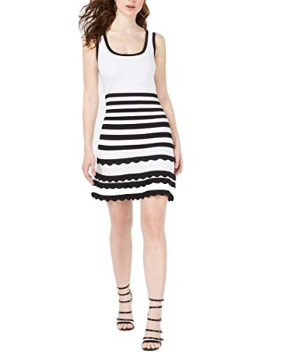 GUESS Antoinette Striped Sweater Dress Black/White XL