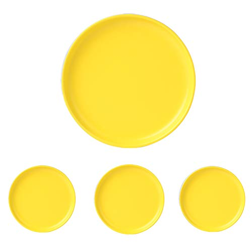 Swuut Matte Ceramic Appetizer Plates 6 Inch,Set of 4, Dishwasher Snack Bread Butter Plates (6in, Yellow)