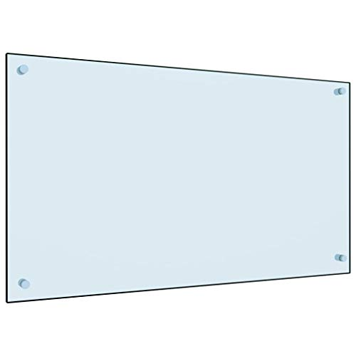 vidaXL Küchenrückwand Spritzschutz Fliesenspiegel Glasplatte Rückwand Herdspritzschutz Wandschutz Herd Küche Weiß 90x50cm Hartglas