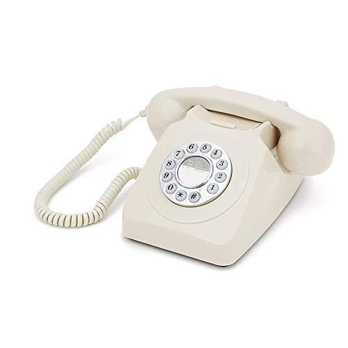 GPO 746 Retro Festnetztelefon im Stil der 70er Jahre mit Druckknopf-authentischer Klingelton- Creme