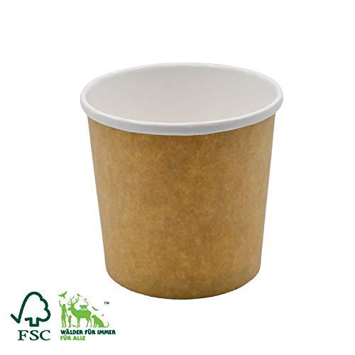 Pack&Cup Bio Suppenbecher aus Pappe Einwegbecher to Go, umweltfreundlich FSC-Zertifiziert (Kraft-White, 450ml, 50)