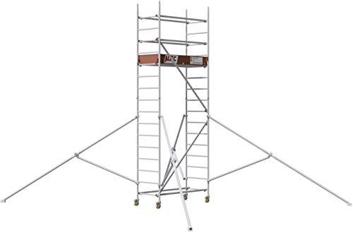 ALTEC Rollfix® 2.0 500 | 5m Arbeitshöhe | bremsb. Lenkrollen (Ø125mm) | Dreieckausleger | Made in Germany | TÜV&GS | belastbar 200kg/m² | Norm - EN 1004:2005 | Modulares Alu Arbeitsgerüst | Baugerüst