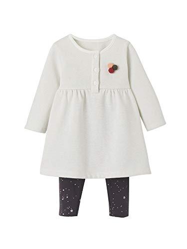 Vertbaudet Kleid mit Leggings für Baby Mädchen wollweiß+anthrazit Sterne 86