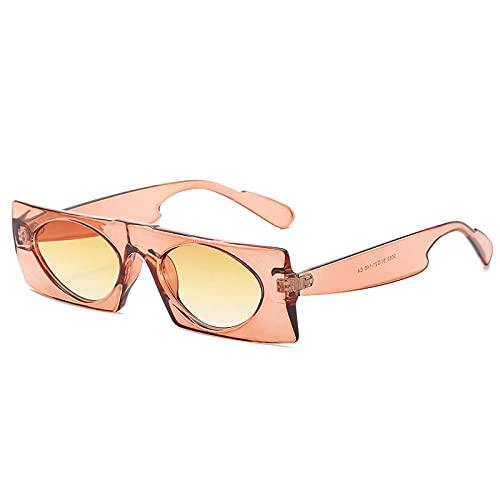 DLSM Rectángulo de Moda Oval Oval Mujer Gafas de Sol Lente Degradado Lente Eyewear Hombres al Aire Libre Hombres Soles Gafas de Sol UV400 Apto para conducción al Aire Libre y Pesca-Té Degradado Amari