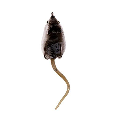 HomeDecTime Ratón de Goma Suave Señuelo de Pesca Ratones de Rata Cebo Aparejos Ganchos Pesca de Superficie - marrón
