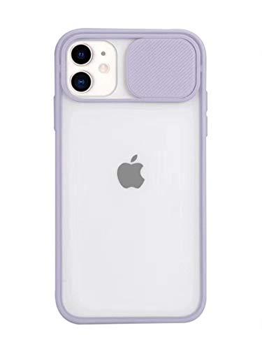 Hadwii Hoes iPhone 11 camerabescherming hoes transparant silicone telefoonhoes met cameralensbescherming iPhone 11 schuifcamera-afdekking hardcase ultradunne beschermhoes voor iPhone 11 - paars