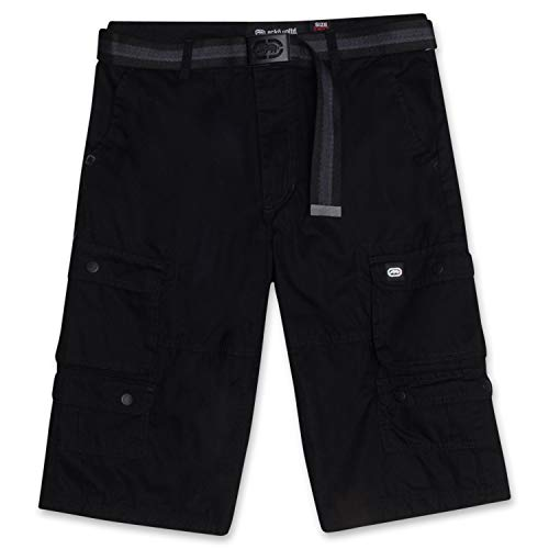 Cargo Shorts for Men - Mens Cargo Shorts with Belt - Twill Shorts by ECKO Black 36