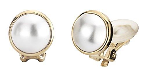 Traveller, orecchini a clip con cristalli Swarovski, placcati in oro 22 carati, diametro delle perle di 10mm, di colore bianco, codice articolo 113364