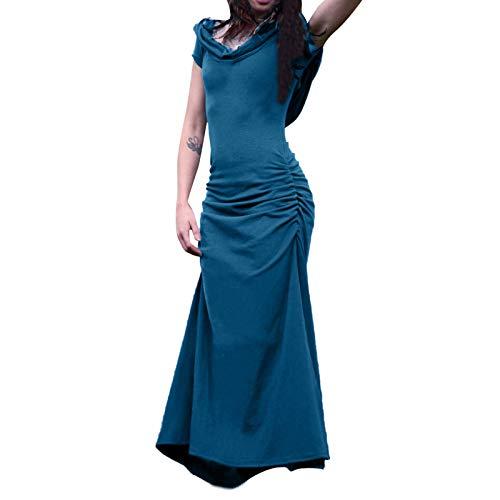 Fortune Teller Costume Women Mermaid Dress Backless Short Sleeve Long Dress Renaissance Victorian Dresses Blue