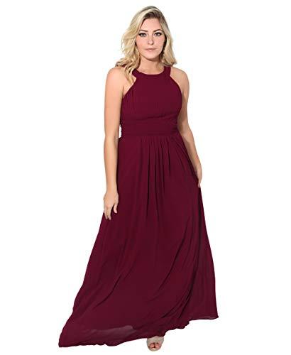 KRISP Damen Chiffon Abendkleid Ärmellos Gerüscht Maxikleid Lang Ballkleid Hochzeitskleid Cocktailkleid, Weinrot (3500), 48, 3500-WIN-20