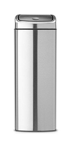 Brabantia Poubelle Touch Bin rectangulaire Anti-traces de doigts Acier mat 25 L