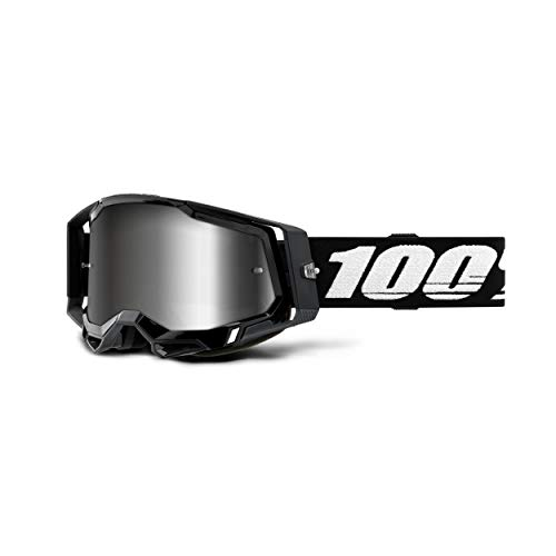 100% Racecraft 2 Motocross & Mountain Biking Goggles (Black - Mirror Silver Lens) MX and Mountain Bike Racing Protective Eyewear