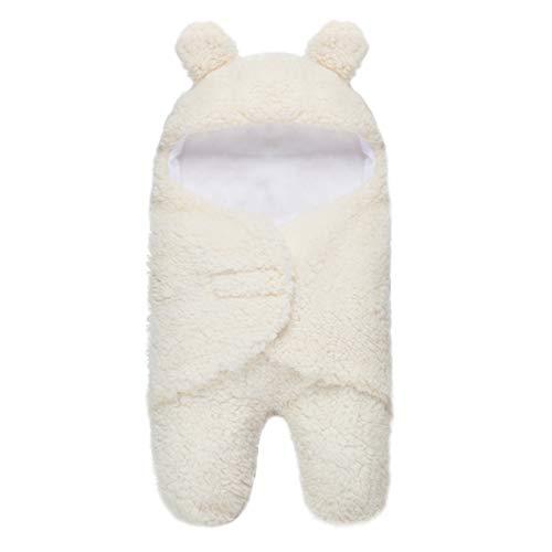 YOOFOSS Baby Pucksack Neugeborene Schlafsack mit Füßen Baby Decke Pucktuch Plüsch Wickeldecke mit Kapuze Universal Schlummersack für Säuglinge Babys Neugeborene 0-2 Monate