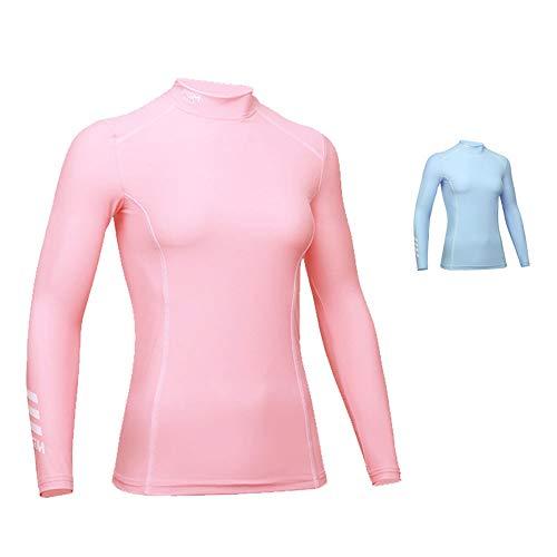 Mhwlai Golfsonnenschutzhemdfrau langärmlig, Sommersonnenschutzkleidungsdameneisseide kleidet super kühles Grundhemd,Rosa,M