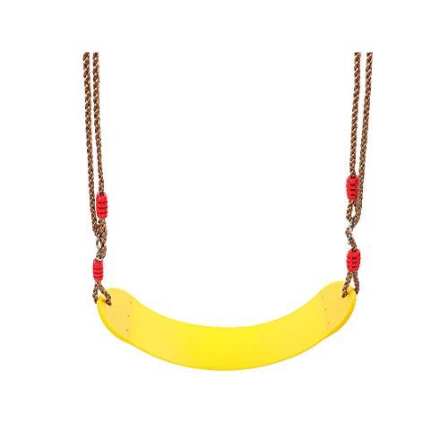 Yisily Columpio Silla Asiento de Columpio para el niño con Cuerdas Ajustables incluidos Ideal para Columpios y estructuras para trepar-Amarillo