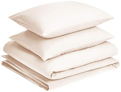 AmazonBasics - Juego de fundas de edredón y almohada de microfibra premium (260 x 220 cm / 50 x 80 cm), crema