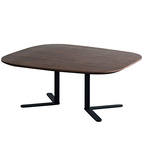 Coffee Tables Iron Living Room Table Center Table Low Table Balcony Oval Outdoor Terrace Table Side Table Side Table (Color : Black walnut, Size : 96 * 80 * 40cm)