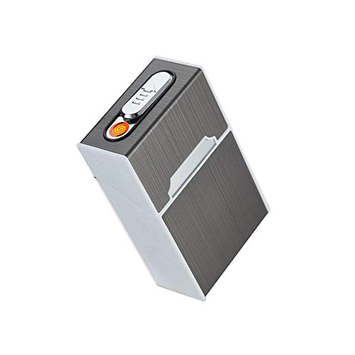 Myhonour Zigarettenetui Zigarettenbox mit Integriertem Feuerzeug Winddichte Flammenlose Zigaretten Box Feuerzeug für 20 Zigaretten Zigarettenschachtel (2)