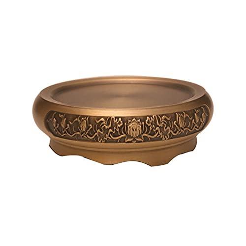 OCGDZ Artesano Antiguo de Cobre Incienso Quemador Puro Copperhome decoración hogar Zen xuande Estufa Placa de sándalo Quemador de Madera Tallado (Color : Carved Base)
