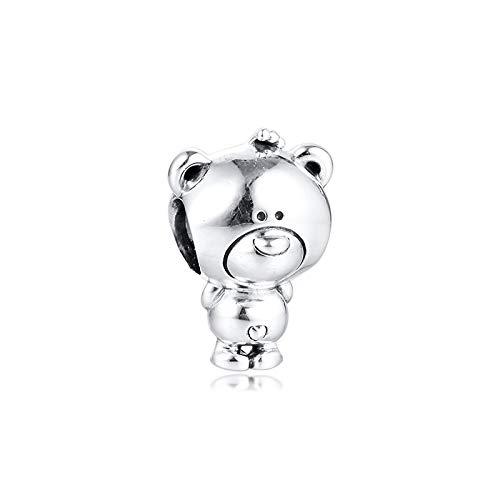 LILANG Pulsera de joyería Pandora 925, dijes Naturales de Oso Theo, Cuentas de Plata esterlina Originales, Cuentas Berloque para Mujer, Regalos DIY