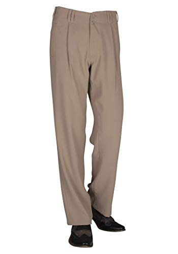 Swing Outfit Herren Hose in Beige mit Gerade geschnittenen Beinen Retro Style Herren Hosen Übergrößen Model Swing Größe 50