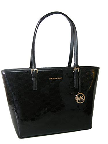 """Measures approximately 14"""" (L) x 10.5"""" (H) x 4.5"""" (D). Embossed black patent style exterior with the Michael Kors name on the front in gold. Full description below."""
