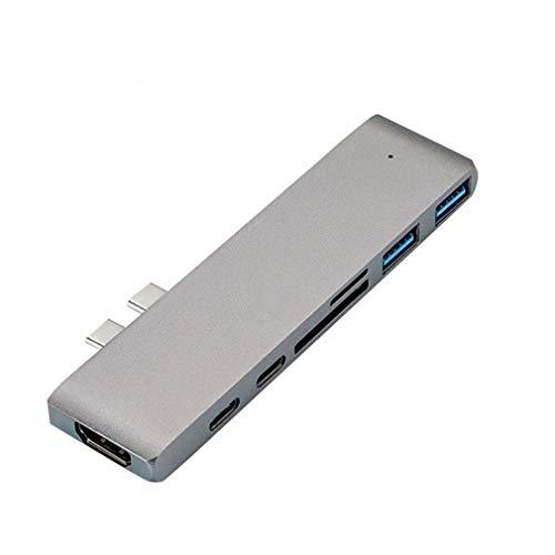 HermosaUKnight Adaptador de concentrador USB 3.1 Tipo C a HDMI 4K Thunderbolt 3 Concentrador USB C con concentrador (Plateado)