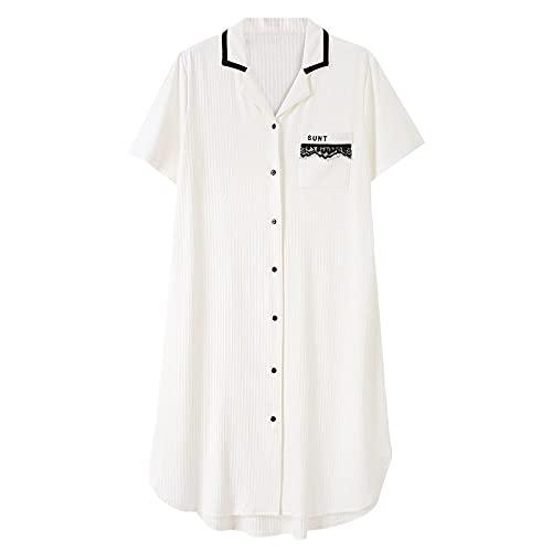 Kurzarm Nachthemden Für Frauen,Nachthemd Für Damen V-Ausschnitt Modal Nachthemd Weiß Kurzarm Knopf Pyjama Damen Sommer Nachtwäsche Bequeme Passform Atmungsaktiv Lässige Nachtwäsche,L