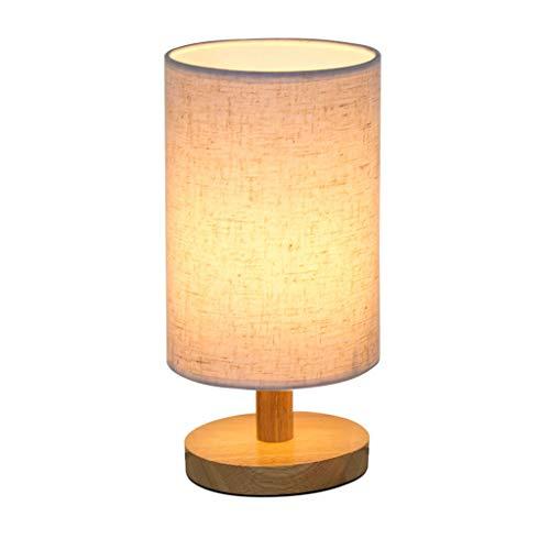 LJUCTD Lámpara de noche de madera, fácil habitación, pequeña lámpara de mesa con tela redonda pantalla de lámpara moderna de noche
