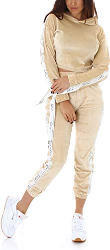 Jela London Damen Velour Hausanzug Nicki Trainingsanzug Jogginganzug High-Waist, Gold 40-42 (L/XL)