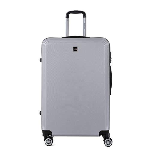 TRAVEL WORLD - Maleta de trolley grande, maleta para equipaje rígido ABS – Plata – Gama AFD