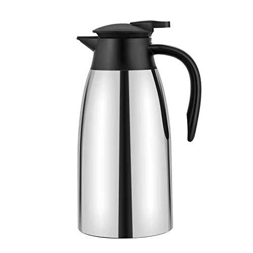 2 Liter Edelstahl Isolierkanne Kaffeekanne Teekanne Doppelwandig Isoliert Vakuum Tee und Kaffee Thermoskannen 12 Stunden Wärmespeicherung