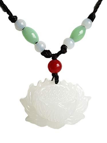 Kette mit Anhänger Jade, Lotus Blume Perlen - Yoga Esoterik Spiritualität Astrologie Energie