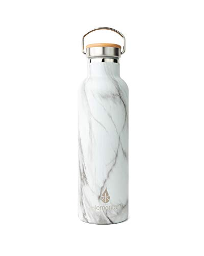 Elemental 25 oz Water Bottle 18/8 Stainless Steel Double Wall Insulation with Bamboo Lid (White Marble)