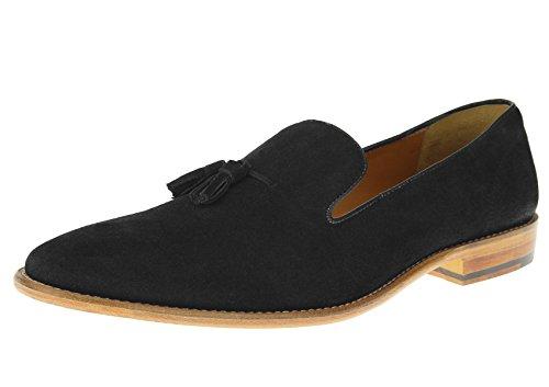 Luciano Natazzi Mens Dress Shoes Slip-On Full Leather Tassel Loafer SL307 (41.5 M EU / 8.5 D(M) US, Black)