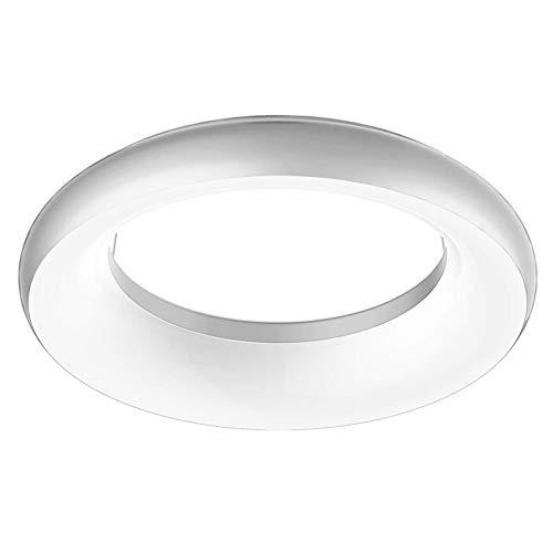 ELG Leuchten LED Deckenleuchte Rund 35 Watt 2900lm 3000K Design Leuchte Anbauleuchte Modern Dekorativ Deckenlampe Wohnzimmer Schlafzimmer Flur Deckenbeleuchtung (Silber)