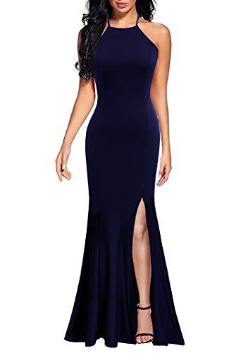 Lyrur Vestido de dama de honor para mujer, sexy, con tirantes delgados, con abertura, formal, largo, para fiesta de noche, vestido de fiesta de sirena, 9071-azul marino, XL