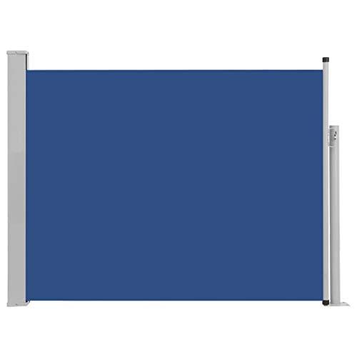 Festnight Ausziehbare Seitenmarkise Standmarkise UV- und Wasserbeständig Seitenrollo Balkon Terrasse und Garten Windschutz und Sichtschutz Terrasse Seitenrollo 140×500 cm Blau