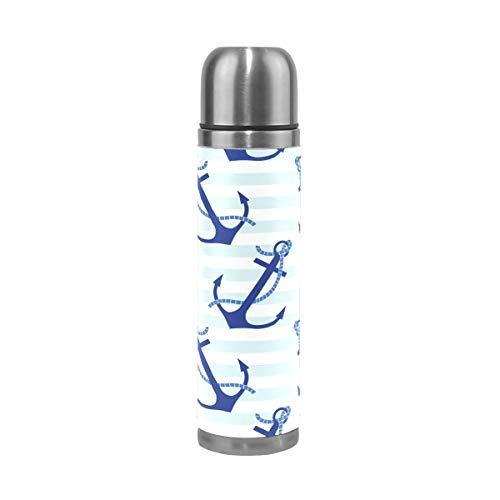 TIZORAX Anclajes patrón doble pared taza de vacío aislada botella de agua de acero inoxidable taza de viaje termo taza de café 17 oz