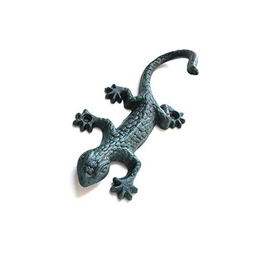 Grace Home Cast Iron Rustic Lizard Gecko Design Wall Hanger Vintage Design Hooks Keys Towels Hook Heavy Duty Metal Wall Mounted Wall Hook