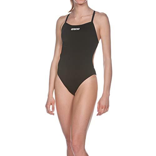 ARENA Solid Light Tech High Costume Intero Donna, Costume da Bagno Sportivo in Tessuto MaxLife con Massima Resistenza al Cloro e Protezione UV UPF 50+, 40 , Nero (Black-White)