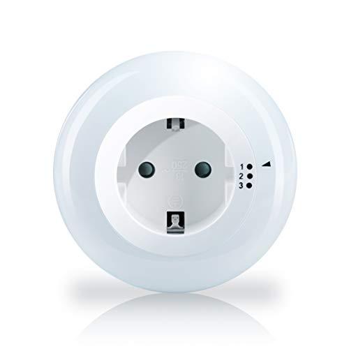 Brandson - Luz LED nocturna y de orientación ajustable - Lámpara de noche - luz de orientación nocturna - sensor de brillo crepúsculo integrado - incluye enchufe intermedio - máx. 3680W