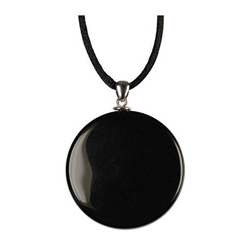 Lapis Vitalis Obsidian-Spiegel 40mm mit Silberöse, Schnur und viersprachigem Beileger in Plastik-Etui, 1er Pack (1 x 22 g)