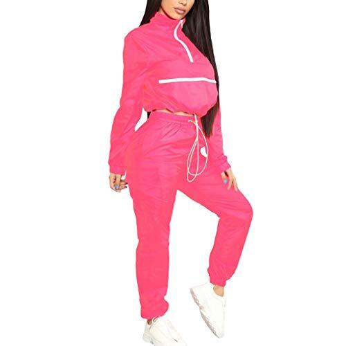 Yingshu Damen 2Stück Outfits Trainingsanzug Overalls Leichte Windjacke Pullover Jacke Crop Top Hosen Set