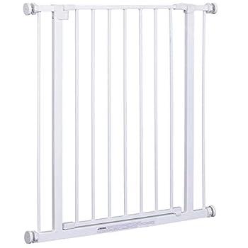 Pawhut Barrière de sécurité Longueur réglable dim. 72-82l x 76H cm sans perçage métal Plastique Blanc
