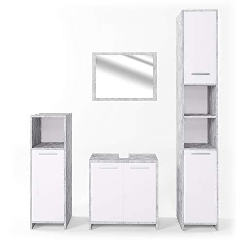 VICCO Badmöbel Set KIKO Weiß Hochglanz / Grau Beton - Badspiegel Unterschrank Bad Hochschrank Bad Midischrank (Beton, Set 4)