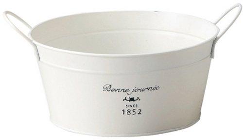GREEN HOUSE French Tin ナチュラルブリキポット サークルL ホワイト 3142-A