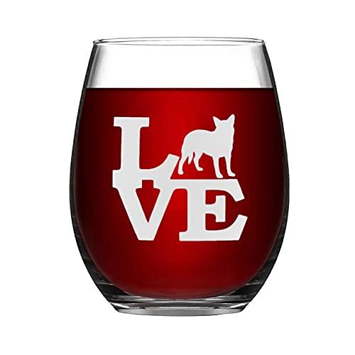 Copa de vino australiana para perro de ganado animal, divertida copa de vino sin tallo, grabado con láser, para whisky, para ella, mamá, esposa, jefe, hermana, BFF, 15 onzas